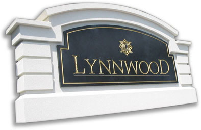 stucco sign monument model 11 with v-groove faux marble sign panel